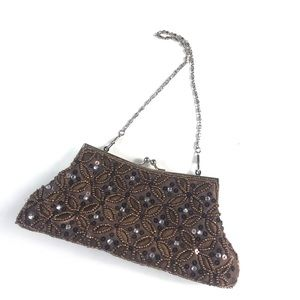 Vintage Beaded Embellished Brown Small Purse